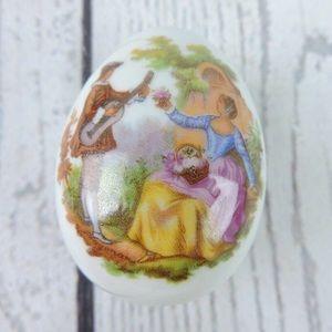 Limoges Trinket Box Egg Portrait France Porcelain